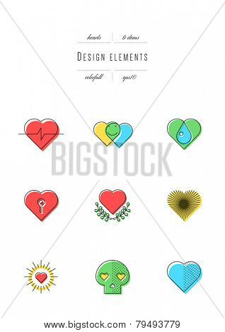 Vector set - design elements. Hearts. Thin line & colors (variable line width, eps10)