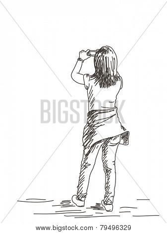 Women taking a photo with smart phone, Hand drawn illustration sketch