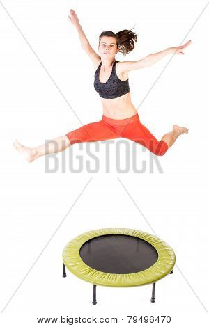 Jumping On Fitness Trampoline