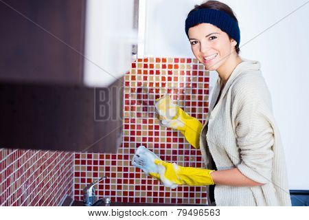 Woman Washing The Dishes