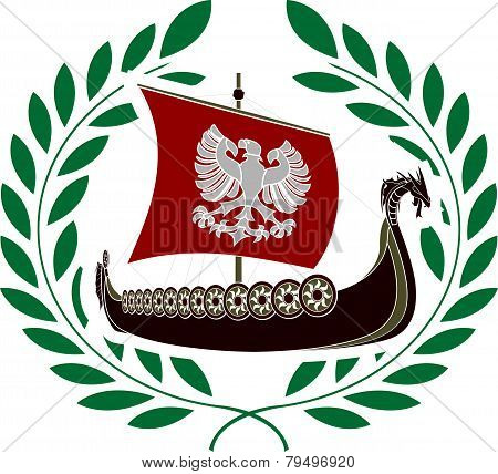 Ancient Ship And Laurel Wreath