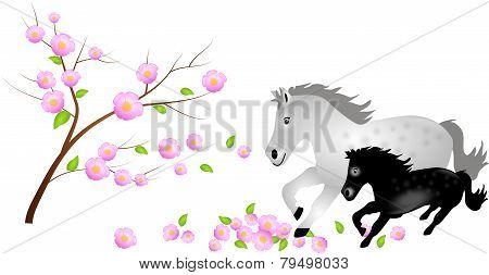 Mare With Foal In Falling Blooms Of Tree