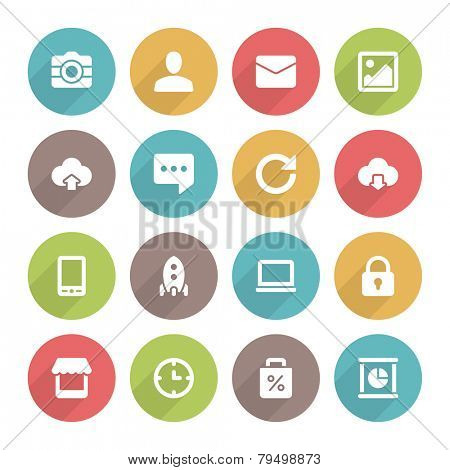 Flat icons vector set and long shadow effect for web site design, infographics, ui and mobile apps. Objects, business, office, communication and marketing items
