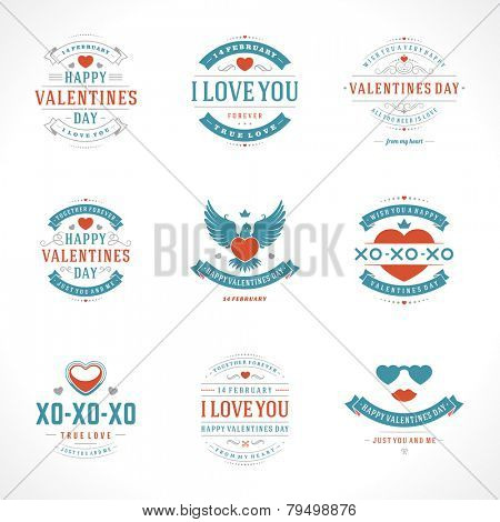 Happy Valentine's Day greetings cards, labels, badges, symbols, illustrations and typography vector elements