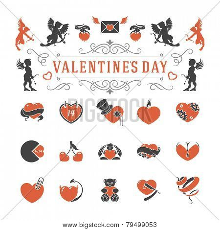 Valentines Day or Wedding Vintage Objects Vector and symbols Set: Hearts, Love Labels, Arrow, flowers, ribbons and Icons. Vector design elements