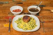 foto of meatball  - Traditional dutch dish stamppot with endive mashed potatoes meatballs bacon and gravy - JPG