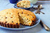picture of irish  - Irish raisin cake served on the table - JPG
