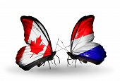 foto of holland flag  - Two butterflies with flags on wings as symbol of relations Canada and Holland - JPG