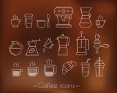 image of execution  - Coffee icons execution lines in minimalistic style symbol coffee cup - JPG