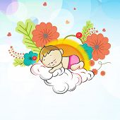 foto of saraswati  - Cute little kid sleeping on cloud and thinking about spring season on flowers decorated background - JPG