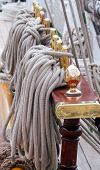 picture of historical ship  - Ship rigging close in the ship - JPG