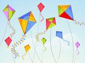 image of kites  - Shiny kites flying on occasion of Happy Vasant Panchami celebration - JPG