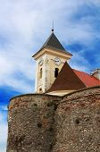 image of yellow castle  - Old clock tower in Palanok Castle  - JPG