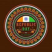 image of ashoka  - Floral decorated sticker or label design in national flag colors and Ashoka Wheel for Indian Republic Day celebration - JPG