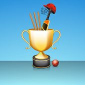 image of cricket bat  - Golden winning trophy with bat - JPG