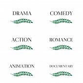 image of storyboard  - Green laurel seals with different film genres - JPG