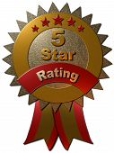 picture of 5s  - A 3D gold and red metallic seal with 5 stars in red and the text  - JPG