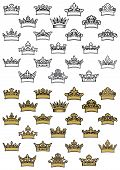 pic of crown jewels  - Outline and golden antique heraldic crowns with decorative leaves and curlicue isolated on white background - JPG