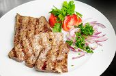 foto of liver fry  - fried beef liver with vegetables - JPG