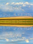 picture of wind-farm  - Detail of windmills on wind - JPG