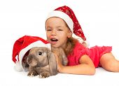 image of rabbit year  - Child in the New Year hat with a rabbit - JPG