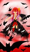 stock photo of vampire bat  - A little vampire girl is flying with bats and full red moon behind - JPG