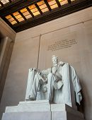 stock photo of abraham  - Abraham Lincoln statue in Lincoln memorial - JPG