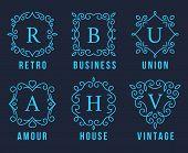 stock photo of amour  - Light Blue Monogram Logos Set Graphic Design on Dark Gray Background - JPG
