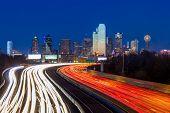 stock photo of texas  - Dallas downtown skyline at night - JPG
