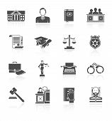 picture of jury  - Law court and criminal symbols icon black set isolated vector illustration - JPG