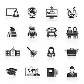 picture of school building  - School icon black set with classroom books bus isolated vector illustration - JPG