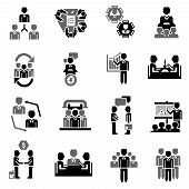 foto of partnership  - Meeting icon black set with job partnership corporate training elements isolated vector illustration - JPG
