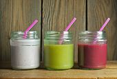pic of smoothies  - Smoothie beverages in jars including kiwi and strawberry - JPG