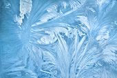 foto of freezing temperatures  - Abstract background of frost water on cold window glass - JPG