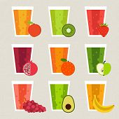 stock photo of recipe card  - Fresh smoothie vector concept - JPG
