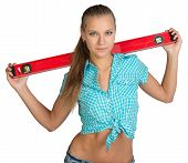 pic of red-necked  - Pretty girl in shirt holding red building level of the neck - JPG