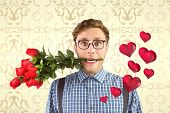 picture of love bite  - Geeky hipster biting a bunch of roses against elegant patterned wallpaper in cream tones - JPG