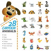 foto of blue animal  - Big set of various cartoon animals and birds - JPG