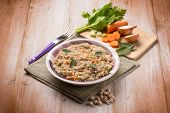 image of chickpea  - barley risotto with chickpeas and vegetables - JPG