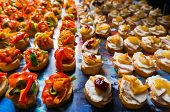 picture of catering  - Catering food specialties aligned for an event - JPG