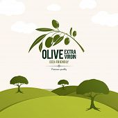 stock photo of olive trees  - Olive label - JPG