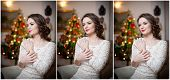 stock photo of tight dress  - Beautiful sexy woman with Xmas tree in background sitting on elegant chair in cozy scenery - JPG