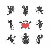 picture of cupid  - Set of vintage cute cupid silhouettes and hearts vector illustration - JPG