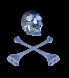 image of skull cross bones  - skull and crossed bones isolated on black background - JPG