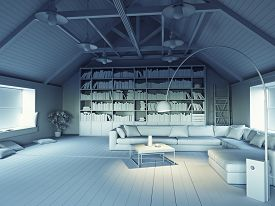 picture of grayscale  - beautiful modern attic interior 3d design concept - JPG
