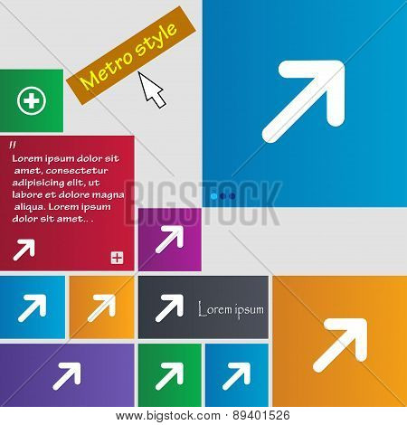 Arrow Expand Full Screen Scale Icon Sign. Metro Style Buttons. Modern Interface Website Buttons With