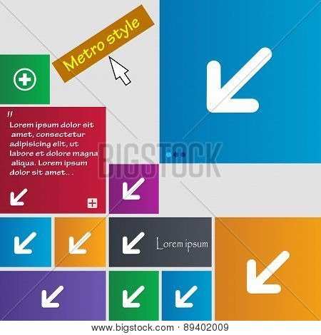 Turn To Full Screenicon Sign. Metro Style Buttons. Modern Interface Website Buttons With Cursor Poin