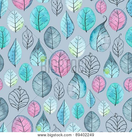Watercolor seamless pattern of leaves, vector abstract illustration.