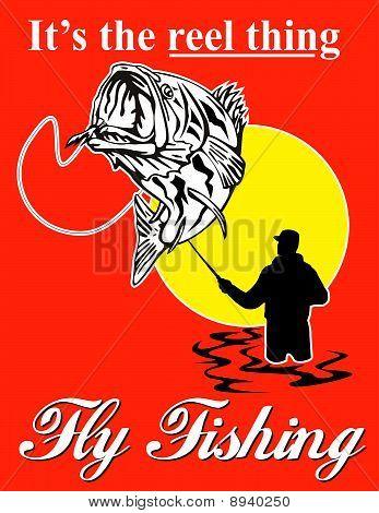 Fliegen Sie Fischer Forellenbarsch Fischen