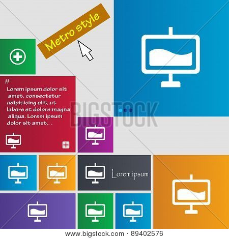 Presentation Billboard Icon Sign. Metro Style Buttons. Modern Interface Website Buttons With Cursor